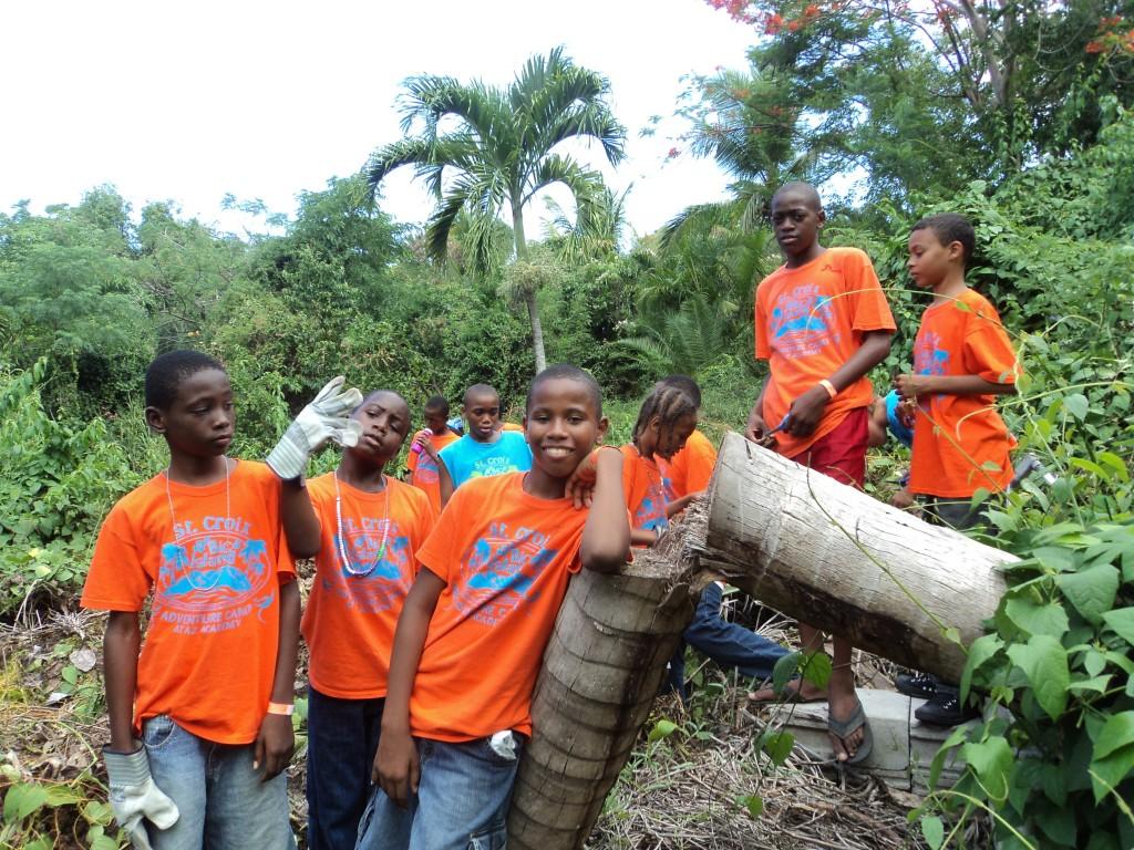 Youth working in garden