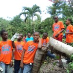 Youth working in garden
