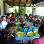 Cloth napkins, reusable plate ware, and hungry kids - a happy combination